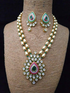 Drop Shaped Pendant With Green Stone - Ishhaara