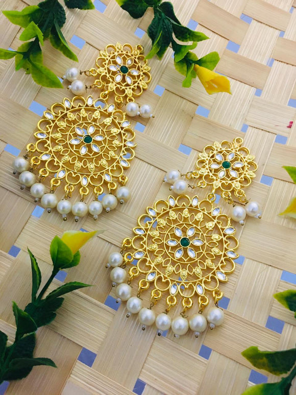 Cut Work Earring with Kundan Work