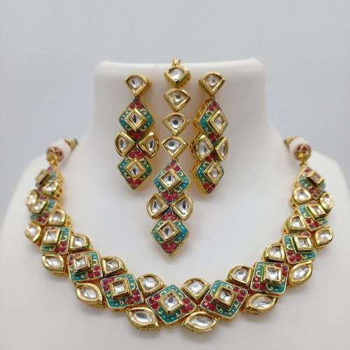 Diamond Cut Meena Necklace Set