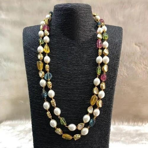 Double Layered Multi Stone Necklace