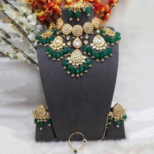 Drop Kundan Necklace Set With Teeka And Nath