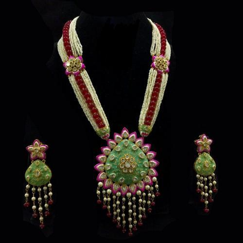 Drop Meena Petal Pendant Set