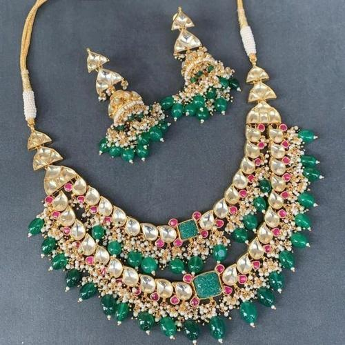 Dual Layered Centre Square Patchi Necklace Set