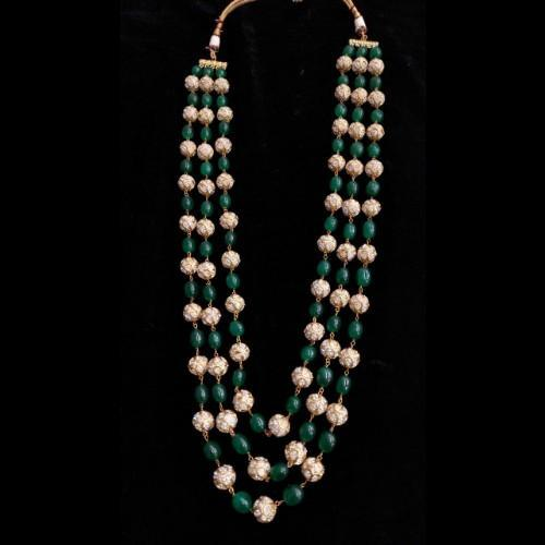 Emerald AD stone Mala Necklace