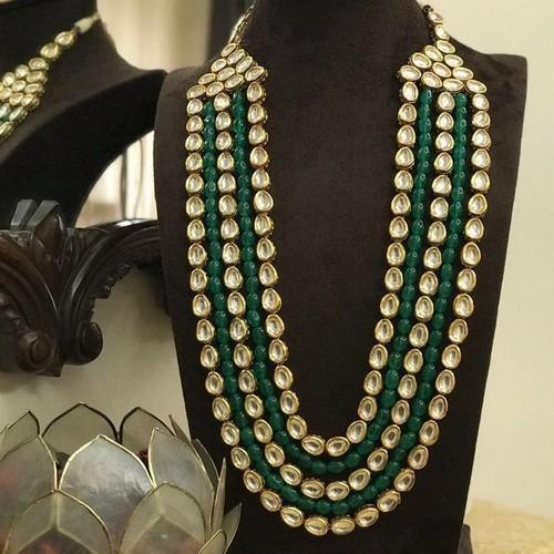 Emerald And Kundan Layered Long Necklace