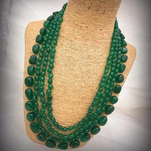 Emerald Bead Layered Necklace - Ishhaara