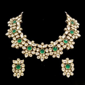 FLower Kundan With Green Stone