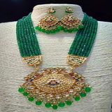 Fan Pendant Green Onex Necklace - Ishhaara