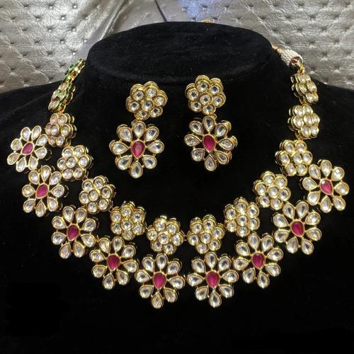 Flower Hanging Kundan Ruby Necklace