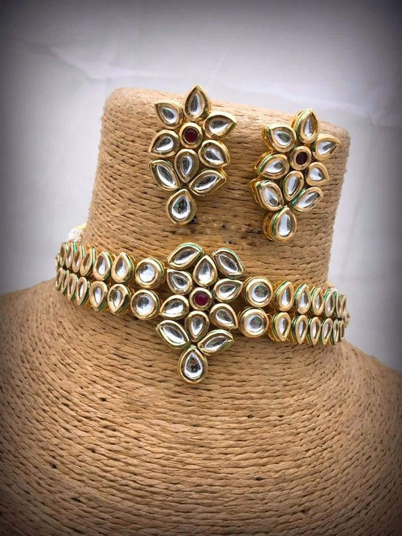 Flower Kundan With Ruby Stone