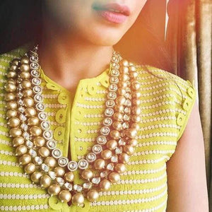 Golden Pearls AD Layered Necklace