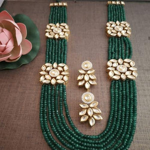 Green Long Side Kundan Necklace
