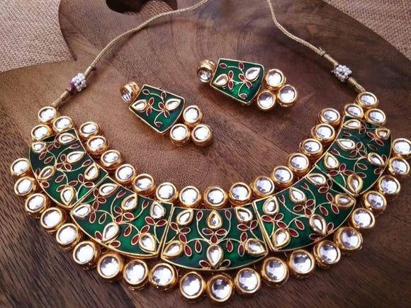 Green Meena Necklace - Ishhaara