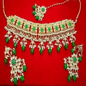 Green Stone Moti Kundan Necklace