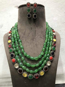 Green Stone navaratna  Necklace - Ishhaara