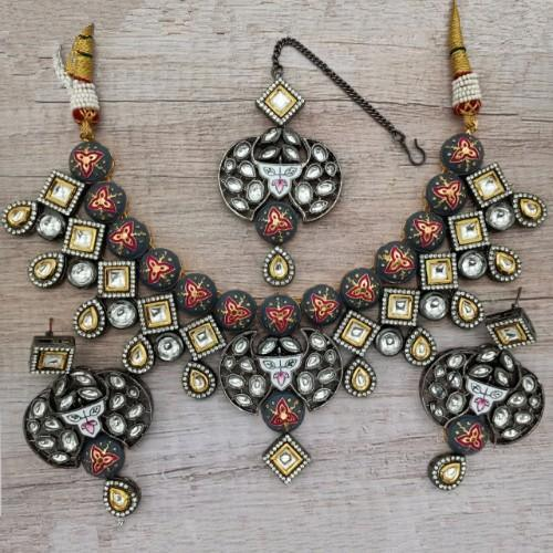 Grey Meena AD Dual Tonned Necklace Set