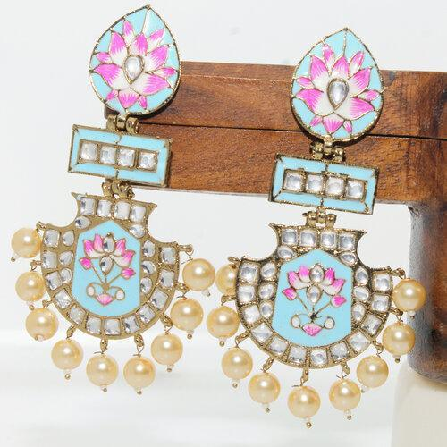 Half Chand Hand Painted Earring - Ishhaara