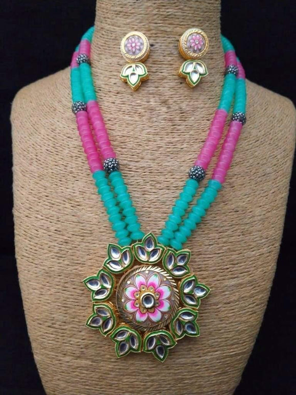 Hand Painted Lotus Pendant Necklace - Ishhaara