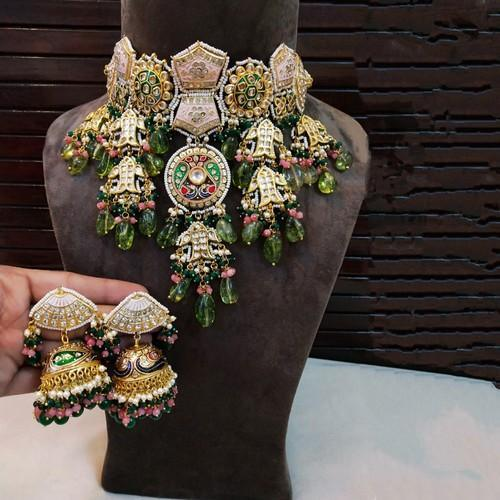 Hand Painted Meena Jadau Choker Big Set