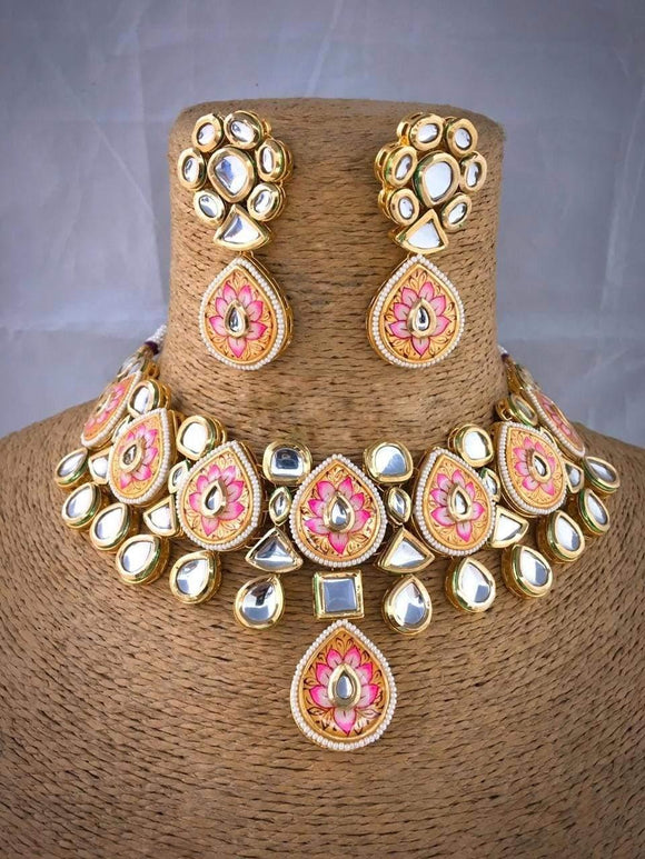 Hand Painted Meena Necklace - Ishhaara