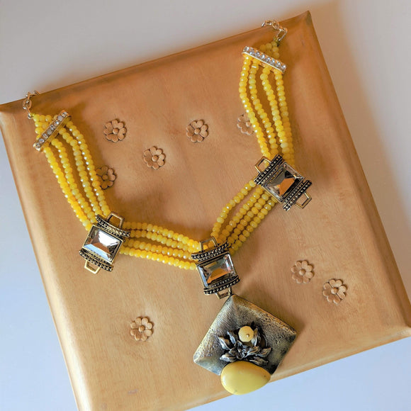 Yellow Abstract Choker Necklace - Ishhaara