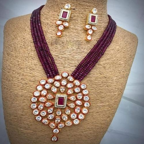 Kundan AD Necklace Square Pendant