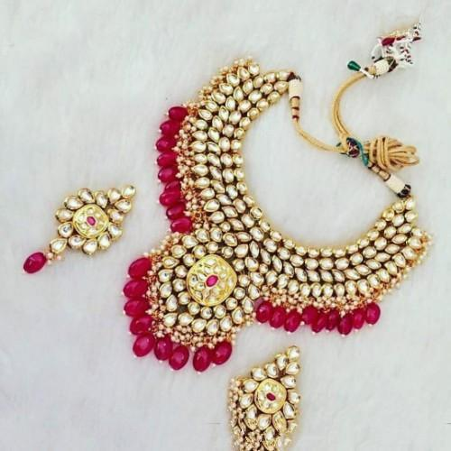 Kundan Choker Extend Pendant Necklace Set