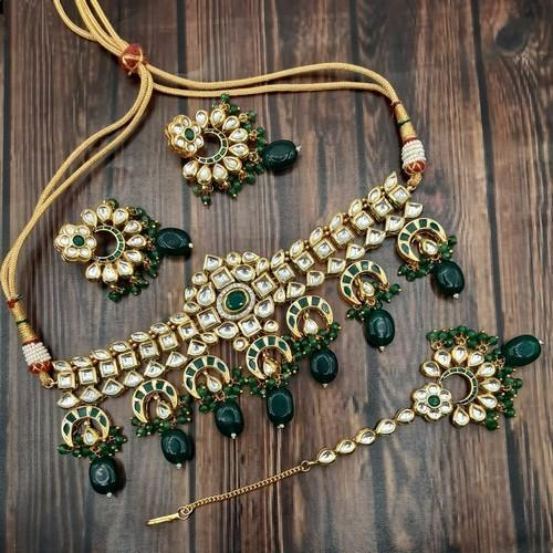 Kundan Choker With Hanging Chand Necklace