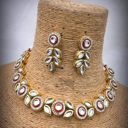 Kundan Meena AD Simple Necklace - Ishhaara