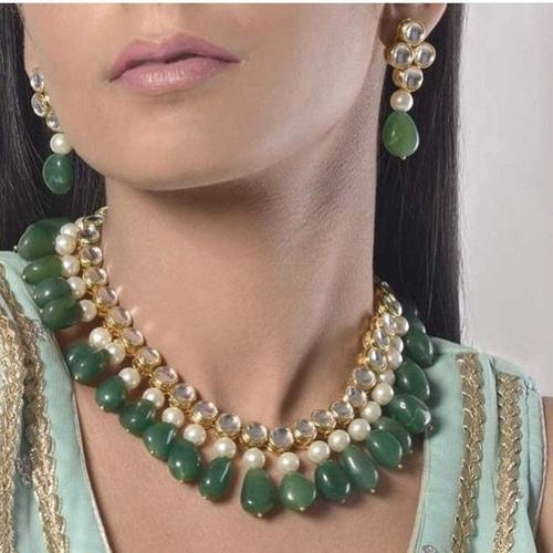 Kundan Moti Green Necklace