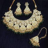 Kundan Necklace With Ruby And White Stone - Ishhaara