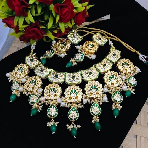 Kundan Peacock Meena Necklace Set