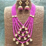 Layered Beaded Necklace Kundan Hanging - Ishhaara
