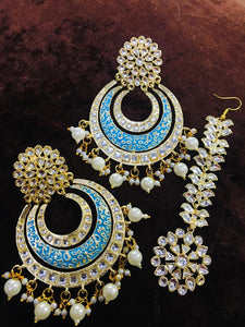 Layered Chandbali Earring With Leaf Teeka - Ishhaara