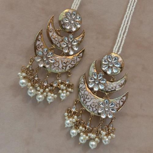Layered Meena Chandbali Flower Earrings