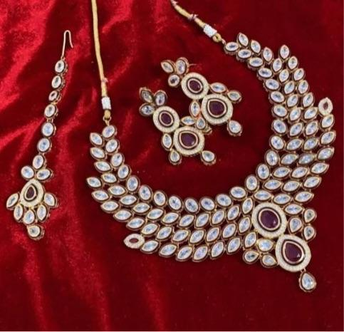 Leaf Leaf AD Kundan Necklace Set