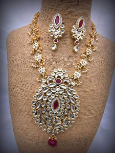 Leaf Shaped Kundan Necklace
