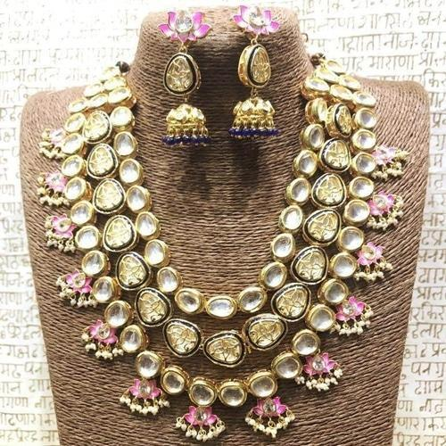 Long Kundan Necklace with Lotus Motifs