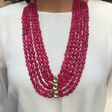 Long Layered Necklace with Center Kundan