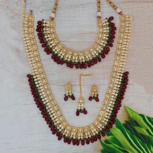 Long Short Square Kundan Necklace Set