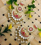 Lotus Long Half Chand Earring