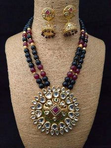 Lotus Shaped Pendant Necklace With Ruby Stone - Ishhaara