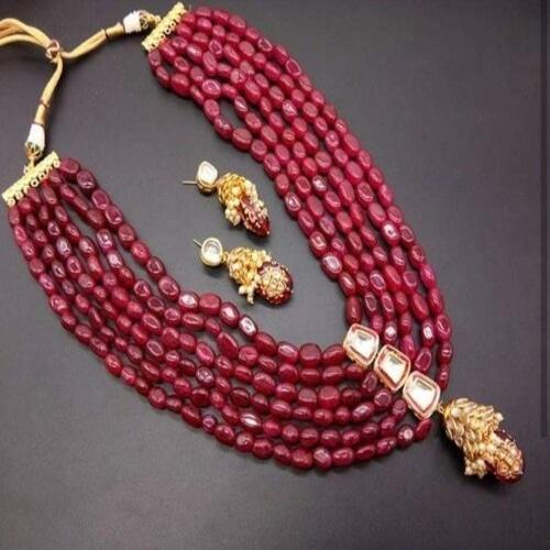 Maroon Long Necklace with Patchi Flower