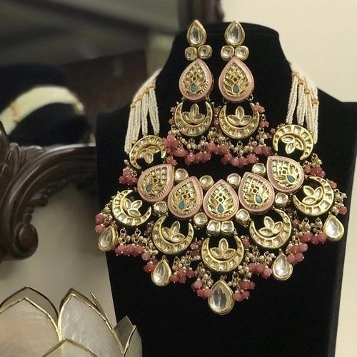 Meena Kundan Chand Necklace - Ishhaara