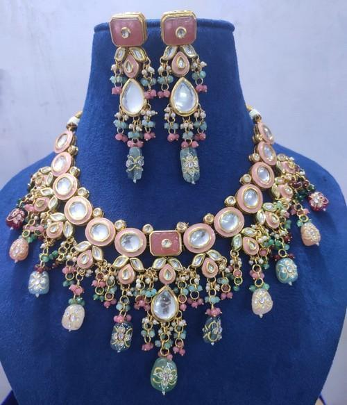 Meena Kundan Coral Necklace Set