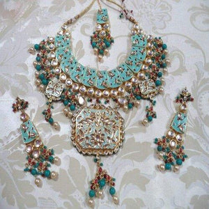Meena Kundan Necklace with Rectangular Pendant - Ishhaara