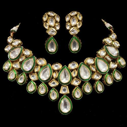 Meena Polki Kundan Drop Set