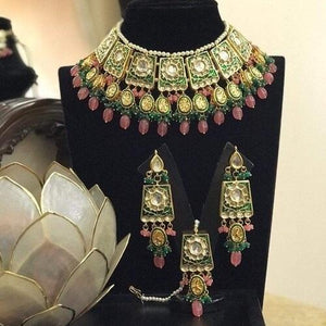 Meenakari Kundan Beaded Necklace - Ishhaara