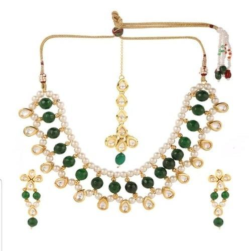 Moti Kundan Green Beads Necklace