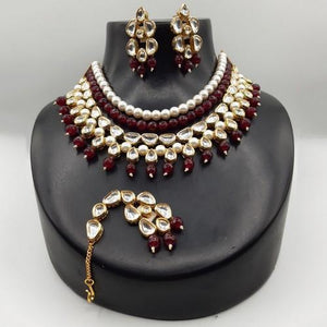Moti Maroon Beads Set